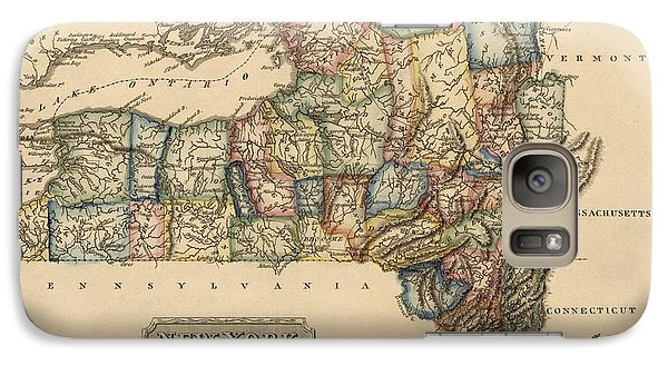 New York City Galaxy S7 Case - Antique Map Of New York State By Fielding Lucas - Circa 1817 by Blue Monocle