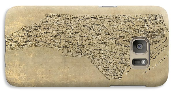 Galaxy Case featuring the drawing Antique Map Of North Carolina - 1893 by Blue Monocle