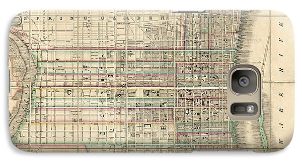 Galaxy Case featuring the drawing Antique Map Of Philadelphia By William Allen - 1830 by Blue Monocle