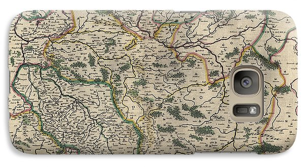 Galaxy Case featuring the drawing Antique Map Of Poland By Willem Janszoon Blaeu - 1647 by Blue Monocle