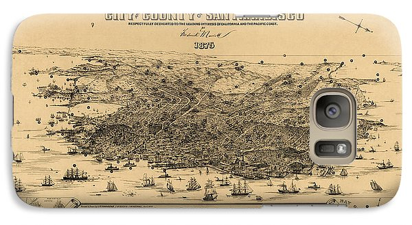 Galaxy Case featuring the drawing Antique Map Of San Francisco By Frederick Marriott - 1875 by Blue Monocle