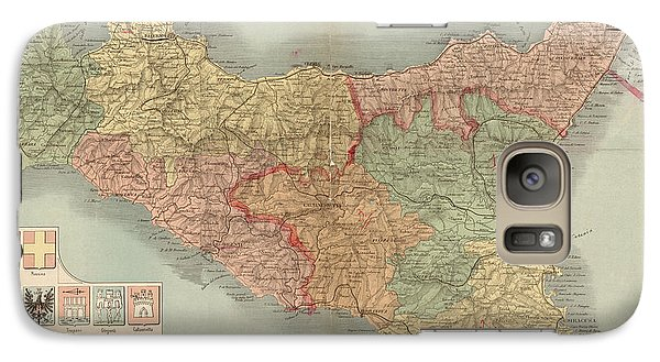 Galaxy Case featuring the drawing Antique Map Of Sicily Italy By Antonio Vallardi - 1900 by Blue Monocle