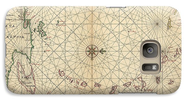 Galaxy Case featuring the drawing Antique Map Of The Caribbean By Joan Vinckeboons - Circa 1650 by Blue Monocle