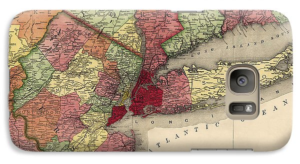 Galaxy Case featuring the drawing Antique Map Of The New York City Region By Rand Mcnally And Company - 1908 by Blue Monocle