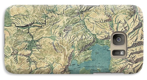 Galaxy Case featuring the drawing Antique Map Of Yellowstone National Park By The Usgs - 1915 by Blue Monocle