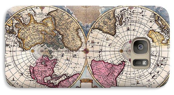 Galaxy Case featuring the photograph Antique World Map 1695 Novus Planiglobii Terrestris Per Utrumque Polum Conspectus by Karon Melillo DeVega