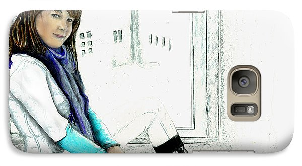 Galaxy Case featuring the drawing Antonela In The Window by Albert Puskaric