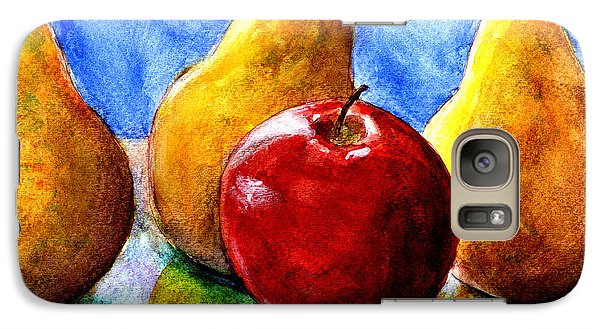 Galaxy Case featuring the painting Apple And Three Pears Still Life by Lenora  De Lude