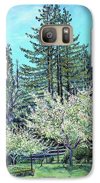 Galaxy Case featuring the painting Apple Blossoms And Redwoods by Asha Carolyn Young
