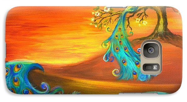 Galaxy Case featuring the painting Apple Tree With A Peacock by Agata Lindquist