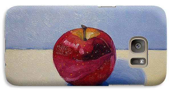 Galaxy Case featuring the painting Apple - White And Blue. by Katherine Miller