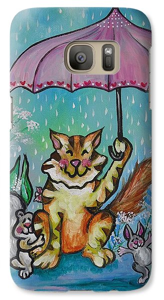 Galaxy Case featuring the painting April Showers by Leslie Manley