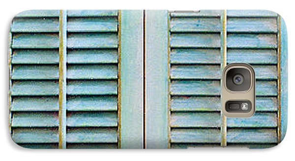 Galaxy Case featuring the painting Aqua Shutters by Asha Carolyn Young