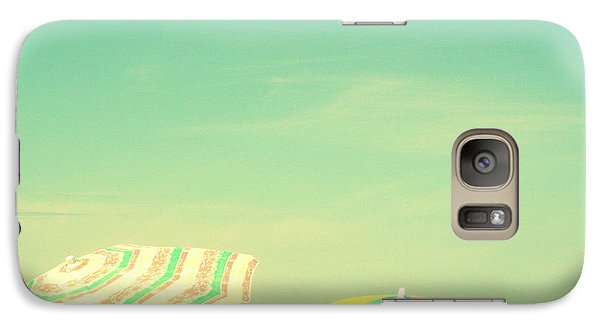 Galaxy Case featuring the digital art Aqua Sky With Umbrellas by Valerie Reeves