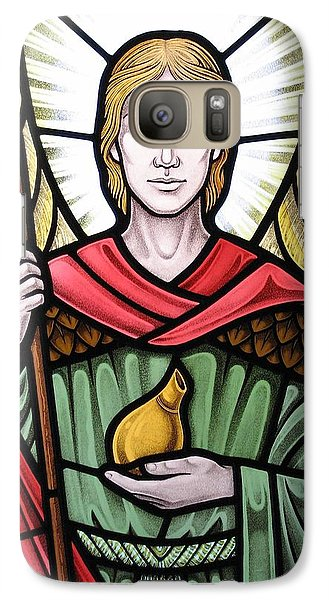 Galaxy Case featuring the glass art Archangel Raphael Detail by Gilroy Stained Glass
