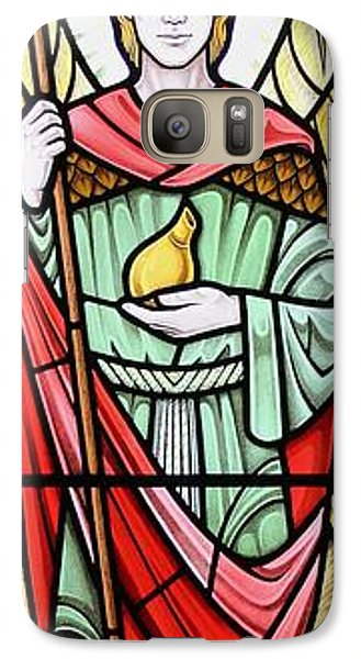 Galaxy Case featuring the glass art Archangel Raphael by Gilroy Stained Glass