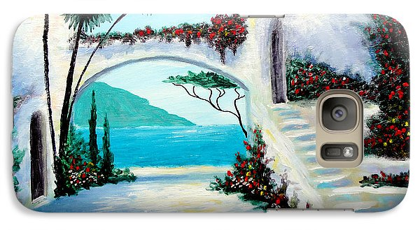 Galaxy Case featuring the painting Archway  By The Sea by Larry Cirigliano