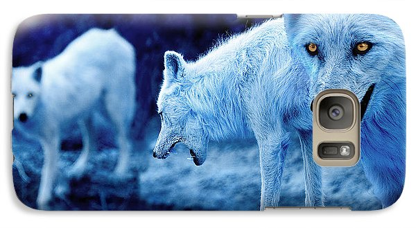 Arctic White Wolves Galaxy Case by Mal Bray