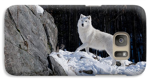 Galaxy Case featuring the photograph Arctic Wolf On Rock Cliff by Wolves Only
