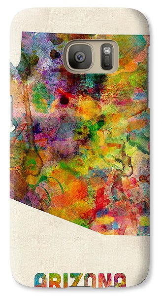 Arizona Watercolor Map Galaxy Case by Michael Tompsett