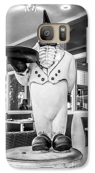 Art Deco Penguin Waiter South Beach Miami - Black And White Galaxy S7 Case by Ian Monk