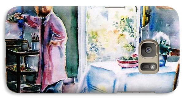 Galaxy Case featuring the painting Artist At Work In Summer  by Trudi Doyle