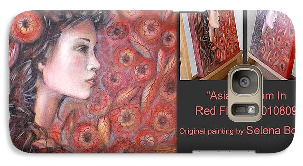 Galaxy Case featuring the painting Asian Dream In Red Flowers 010809 Comp by Selena Boron