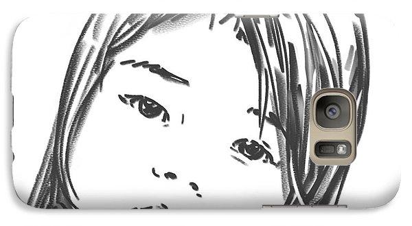 Galaxy Case featuring the drawing Asian Girl by Olimpia - Hinamatsuri Barbu