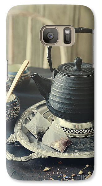 Galaxy Case featuring the photograph Asian Teapot With Cups And Herbal Bags Of Tea by Sandra Cunningham