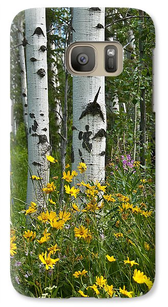 Galaxy Case featuring the photograph Aspen Trees And Wildflowers by Jeff Goulden