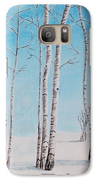 Galaxy Case featuring the painting Aspens In Snow by Melvin Turner