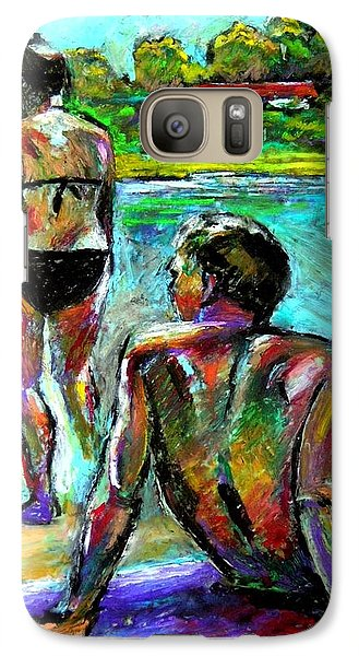 Galaxy Case featuring the drawing At The Marina by Stan Esson