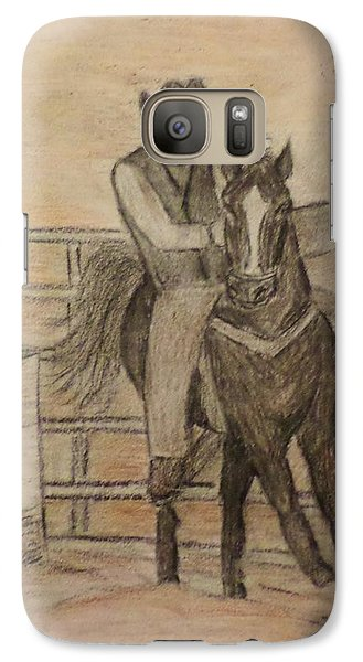 Galaxy Case featuring the drawing At The Rodeo by Christy Saunders Church