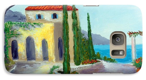Galaxy Case featuring the painting At The Seaside Amalfi by Larry Cirigliano