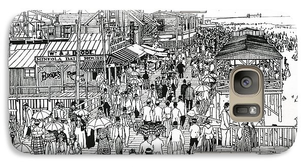 Galaxy Case featuring the drawing Atlantic City Boardwalk 1890 by Ira Shander