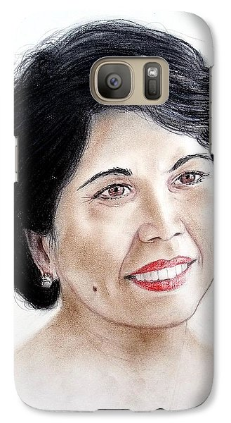 Galaxy Case featuring the drawing Attractive Filipina Woman With A Facial Mole by Jim Fitzpatrick