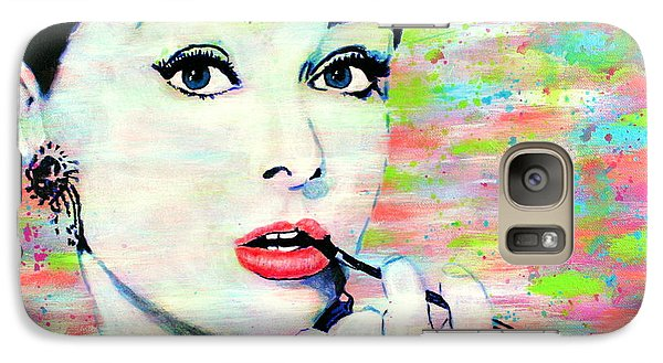 Galaxy Case featuring the painting Audrey Hepburn Art Breakfast At Tiffany's by Bob Baker