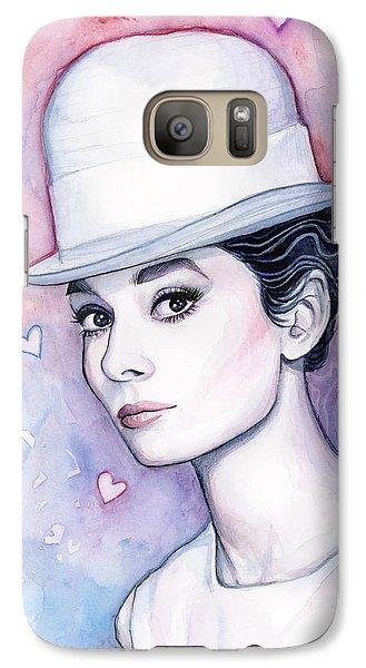 Audrey Hepburn Fashion Watercolor Galaxy S7 Case