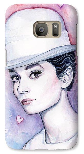 Audrey Hepburn Fashion Watercolor Galaxy S7 Case by Olga Shvartsur