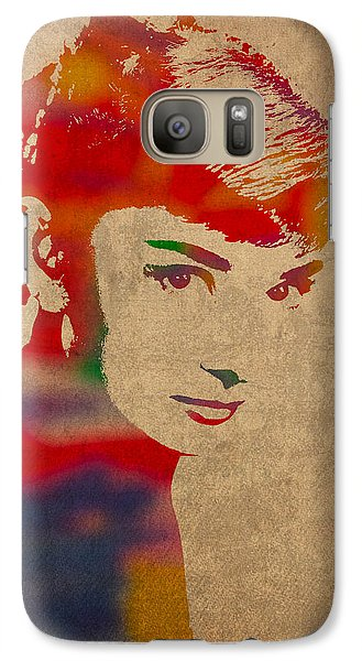Portraits Galaxy S7 Case - Audrey Hepburn Watercolor Portrait On Worn Distressed Canvas by Design Turnpike