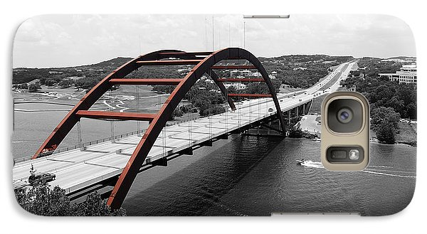 Galaxy Case featuring the digital art Austin Texas Pennybacker 360 Bridge Color Splash Black And White by Shawn O'Brien