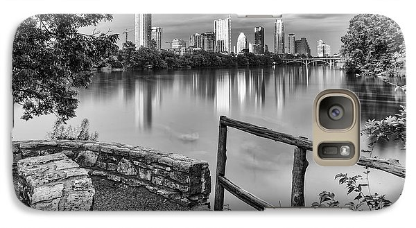 Austin Texas Skyline Lou Neff Point In Black And White Galaxy S7 Case