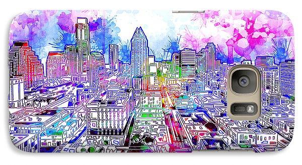 Austin Texas Watercolor Panorama Galaxy S7 Case