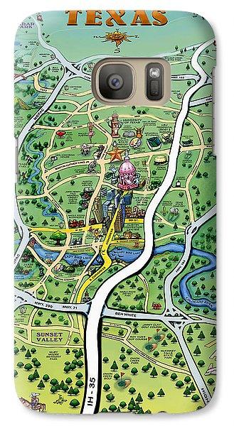 Galaxy Case featuring the digital art Austin Tx Cartoon Map by Kevin Middleton