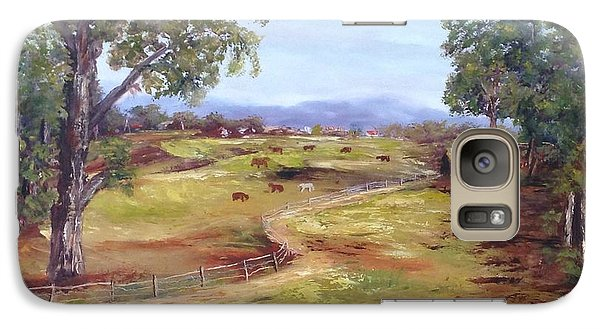 Galaxy Case featuring the painting Australian Landscape Children Fishing by Renate Voigt