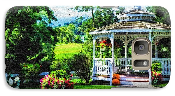 Galaxy Case featuring the photograph Autumn At The Gazebo by Mary Timman