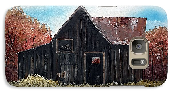 Galaxy Case featuring the painting Autumn - Barn -orange by Jan Dappen