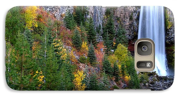 Galaxy Case featuring the photograph Autumn Colors Surround Tumalo Falls by Kevin Desrosiers