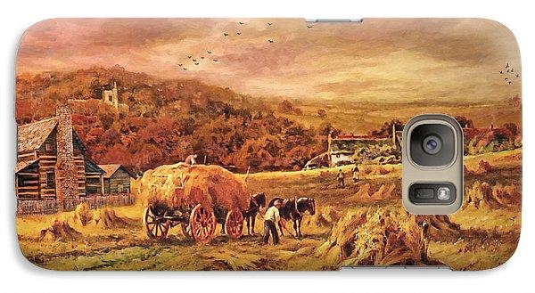 Folk Art Galaxy S7 Case - Autumn Folk Art - Haying Time by Lianne Schneider