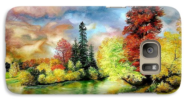 Galaxy Case featuring the painting Autumn In Park by Sorin Apostolescu